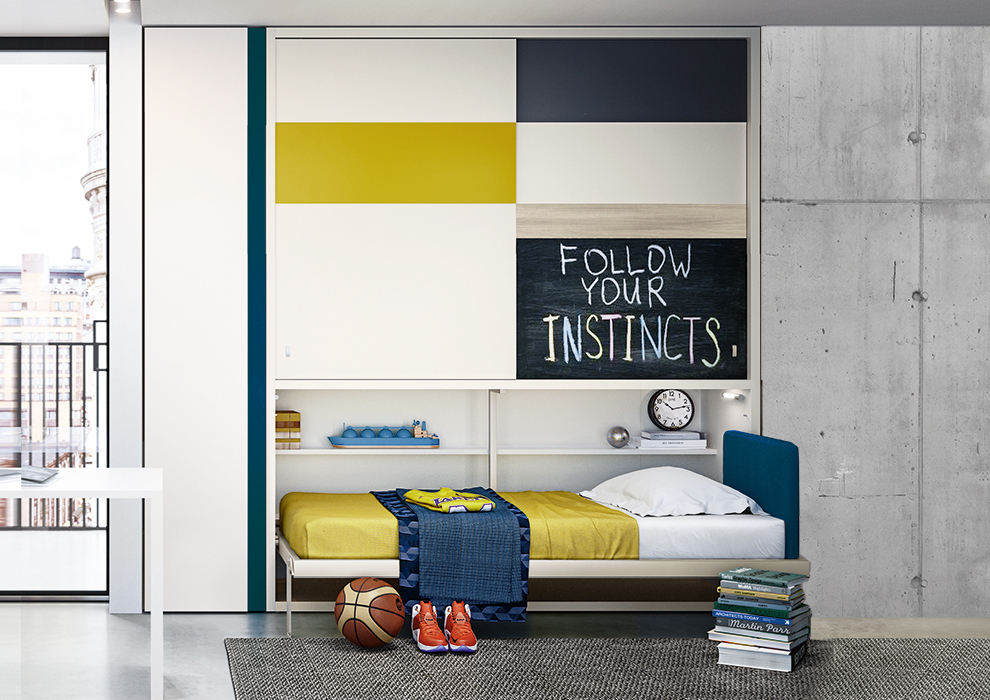 Kali Ponte single wall bed with storage.