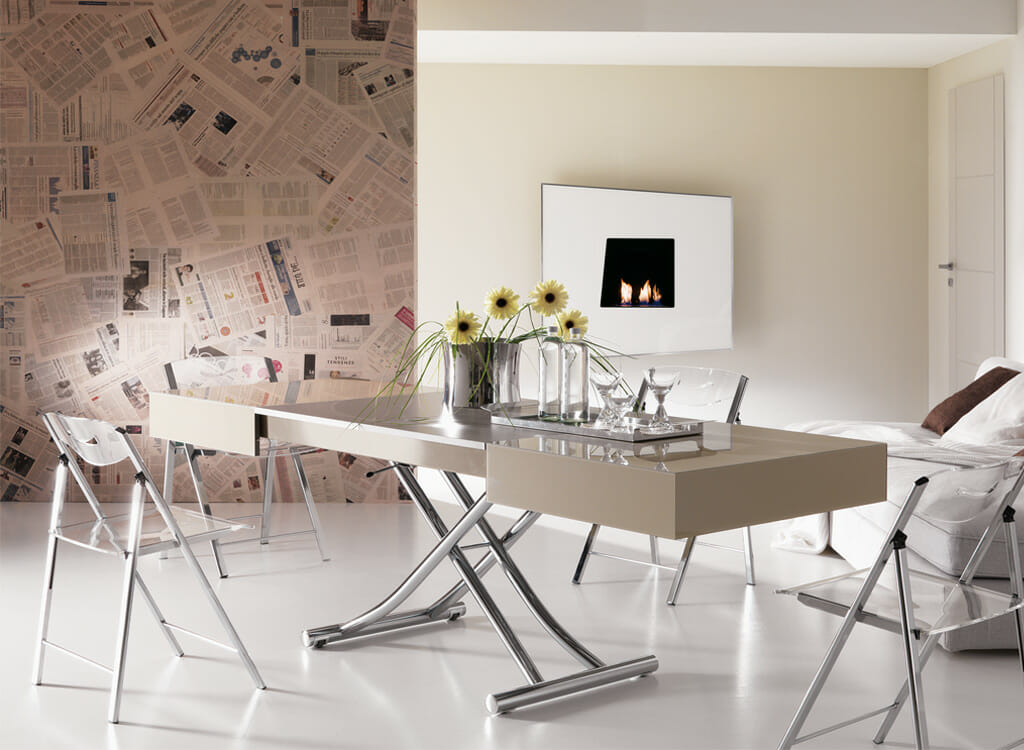 Cristallo transforming coffee dining table resource for Tavoli in cristallo di design
