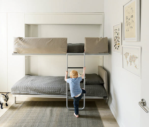 Kali Duo bunk bed creates extra space to play when the bed is up! Photo courtesy of Dwell | Resource Furniture