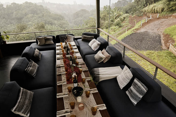 Flex sofas and Passo transforming coffee-to-dining tables, combined here to seat a large dinner party.