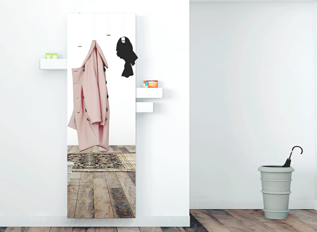 Betty is a mirror, a coat hanger, and slide-out storage drawers all in one.