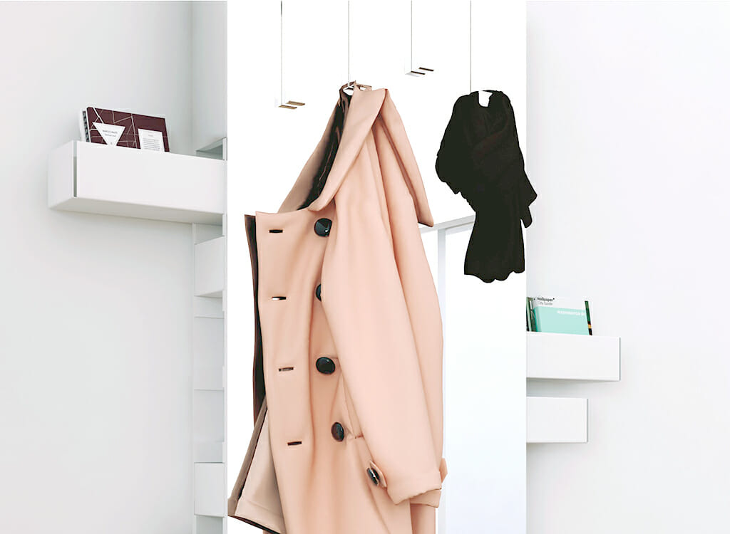 Betty full-length mirror with removable coat hangers and hidden storage drawers.