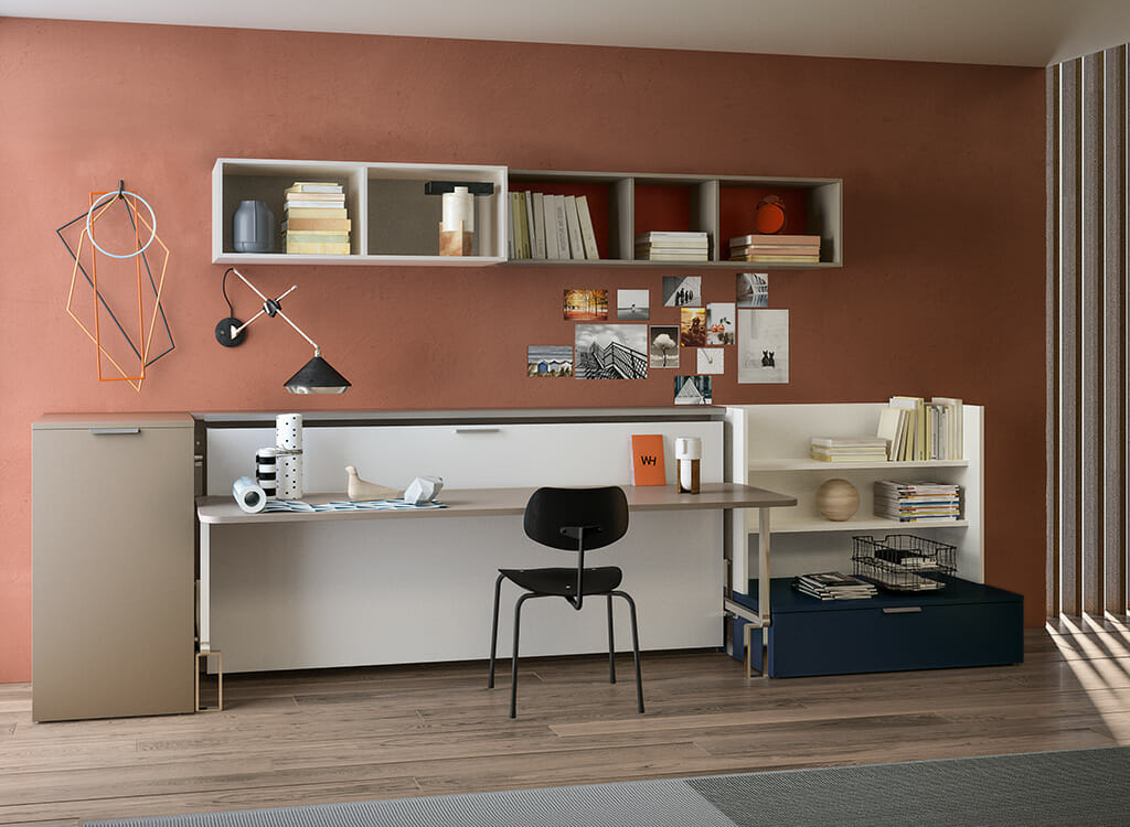 Picture of: Single Wall Bed With Desk Cabrio Resource Furniture