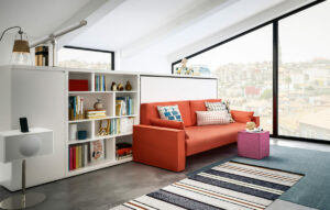 Kali Sofa wall bed with integrated shelving and cabinet.