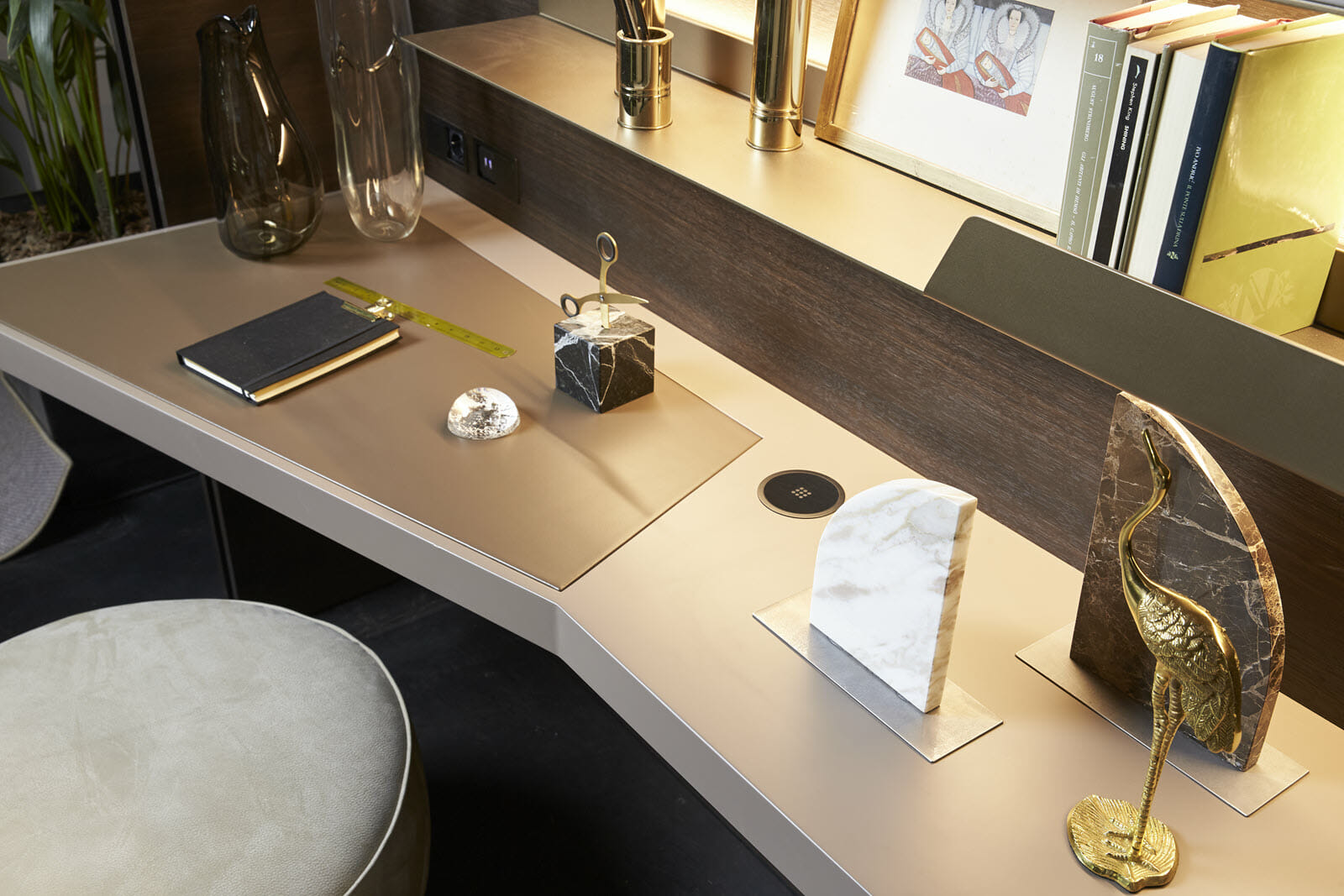 Our Freestanding Desk Units can be customized with built-in phone chargers, USB ports, outlets and more, so you can accomodate all of your devices and tech accessories.