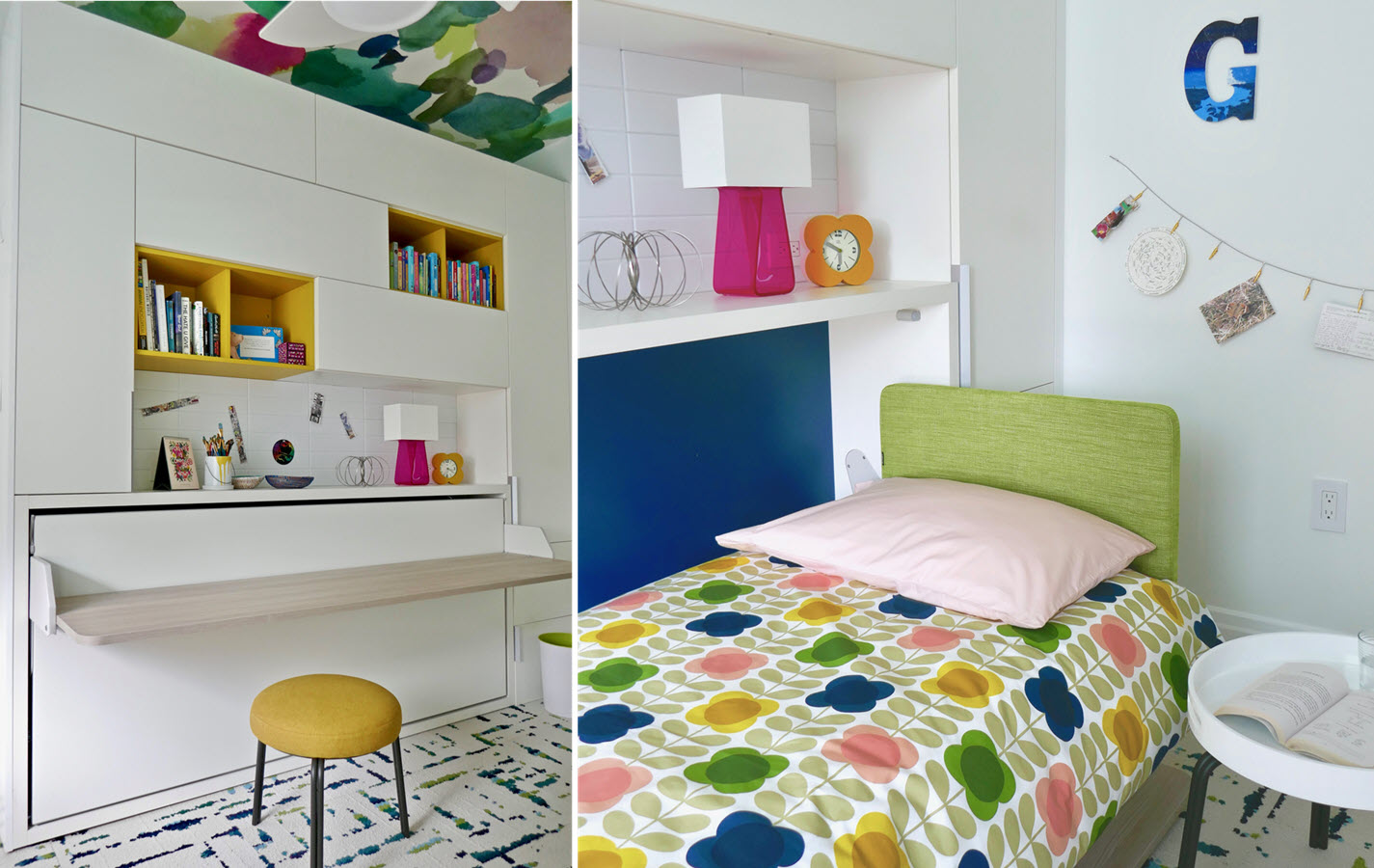 To some, the thought of a maid's room in New York City conjures images of claustrophobic cells. But with bright pops of color, ample light, and a custom, space-saving furniture ensemble, this 7x12' bedroom sheds that old convention, functioning instead as a creative retreat for a pre-teen artist to grow into her own.
