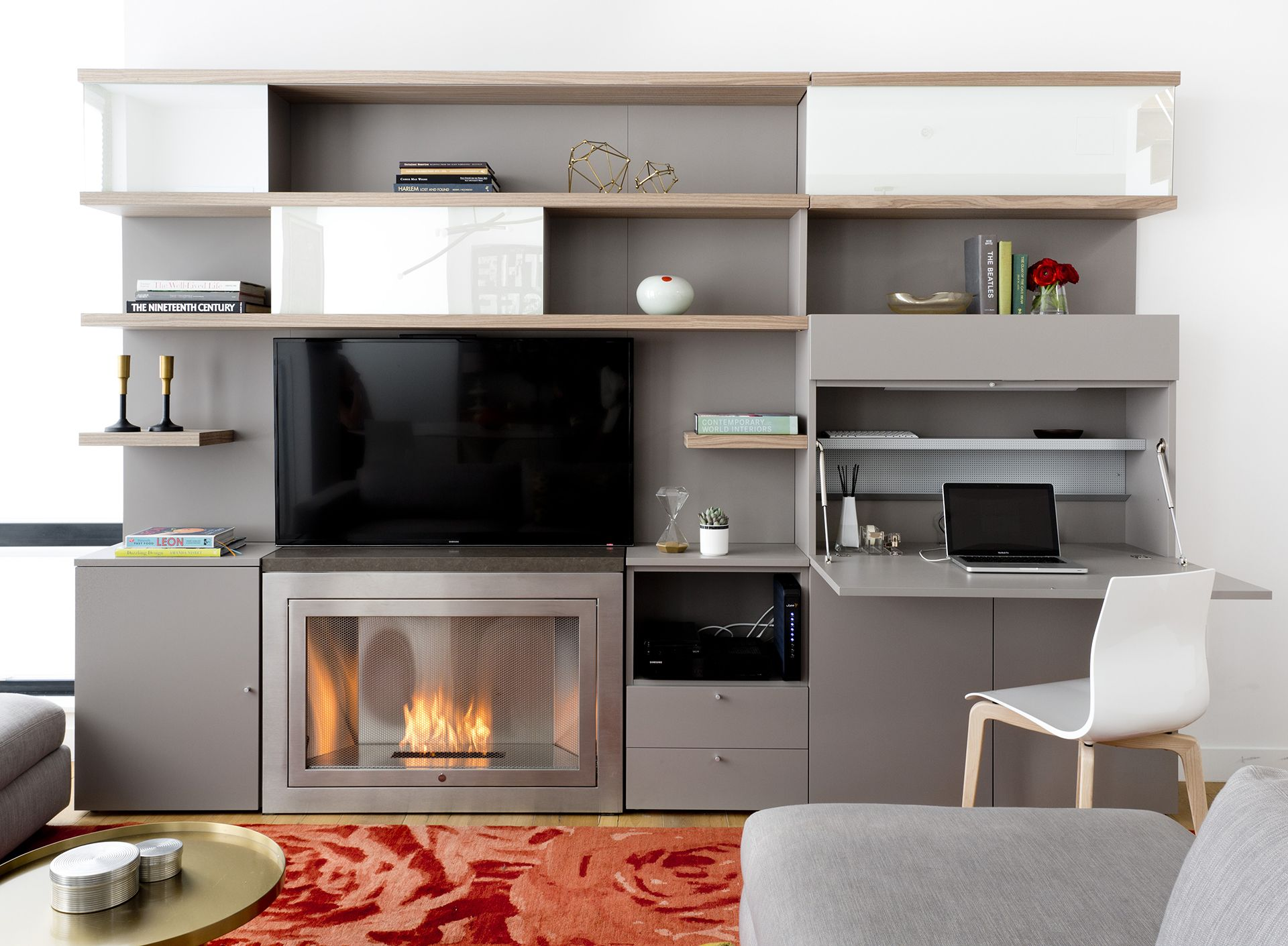 Resource Furniture and Hearth Cabinet teamed up to create this beautiful and functional modular storage system.