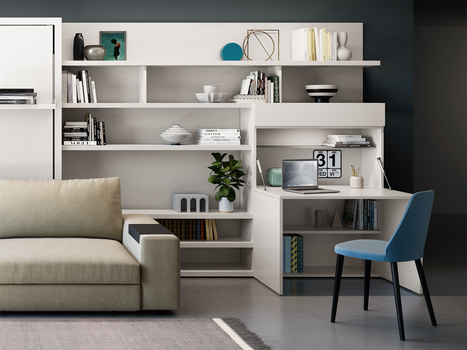 The Home Office modular cabinet folds open to reveal a generous work surface.