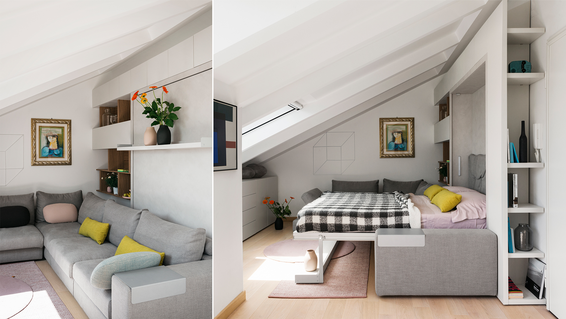 Roberta Colombo's Italian cottage is outfitted with a Tango Sectional wall bed, allowing this tiny space with a sloping roof to double as a living room and bedroom.
