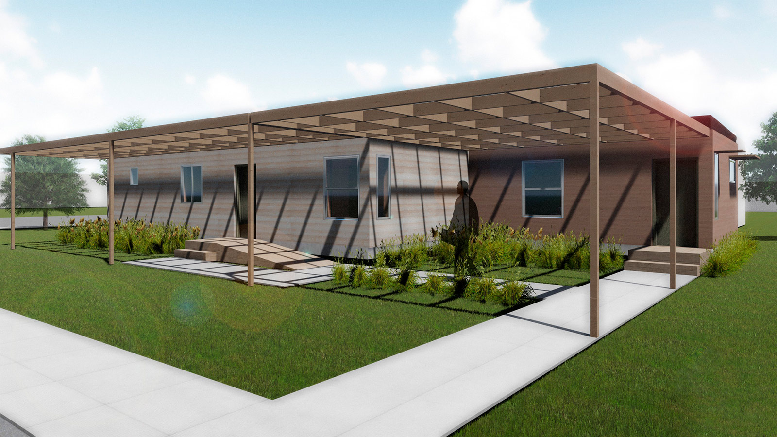 Exterior rendering of ADAPTHOUSE. To maintain net-zero status, the home utilizes climate-conscious construction methods and advanced solar technology.